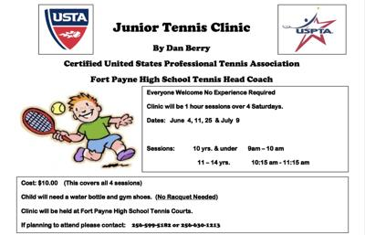 Fort Payne to host junior tennis clinic