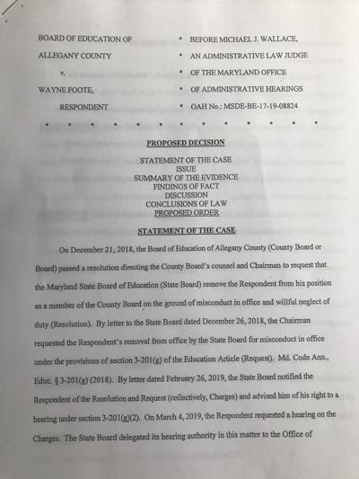 Proposed decision on Foote case