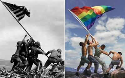 Iwo Jima Marines, gay pride and a photo