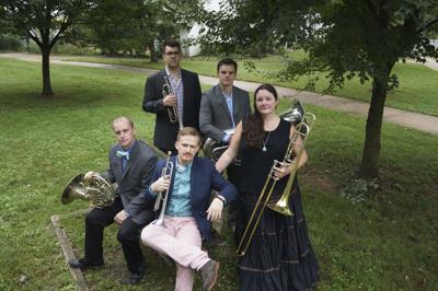 Brass quintet performing livestream concert for FSU