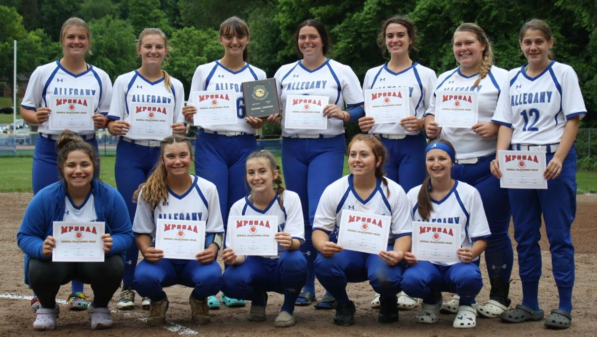 Allegany poses with plaque
