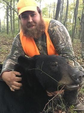 Robert Marks and his bear from Maryland's 2018 hunt