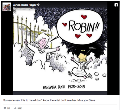 Barbara Bush greets daughter in heaven in popular newspaper