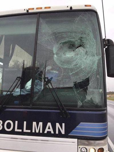 Heads up! Turkey shatters windshield of bus transporting Fort Hill band members