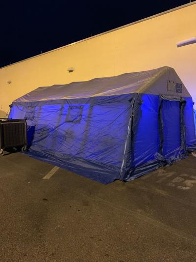 PVH triage tents for patients from area diverted hospitals 9-15-21