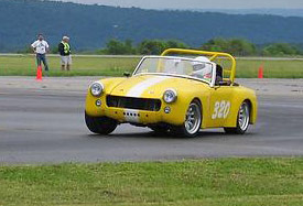 A car competes at the former Cumberland, Md. airport autocross