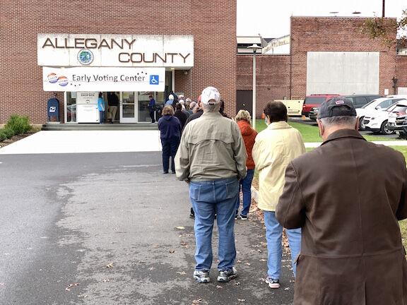 Dozens wait in line as early voting begins in Maryland