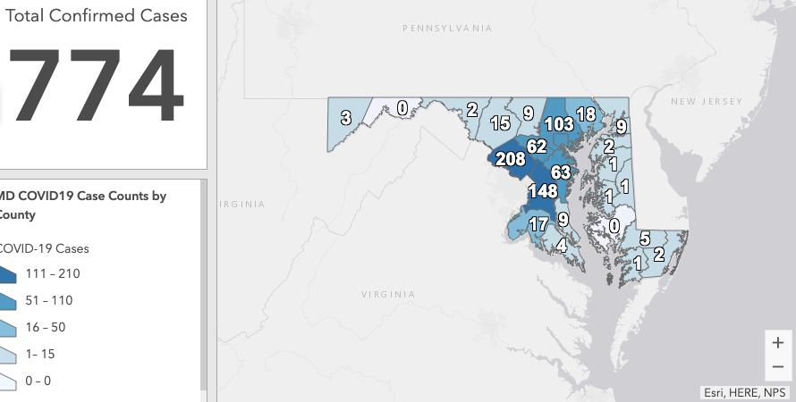 Maryland Emergency Management Agency coronavirus map 3-27-20