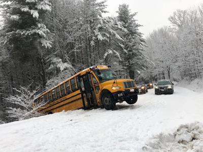 School bus slide off