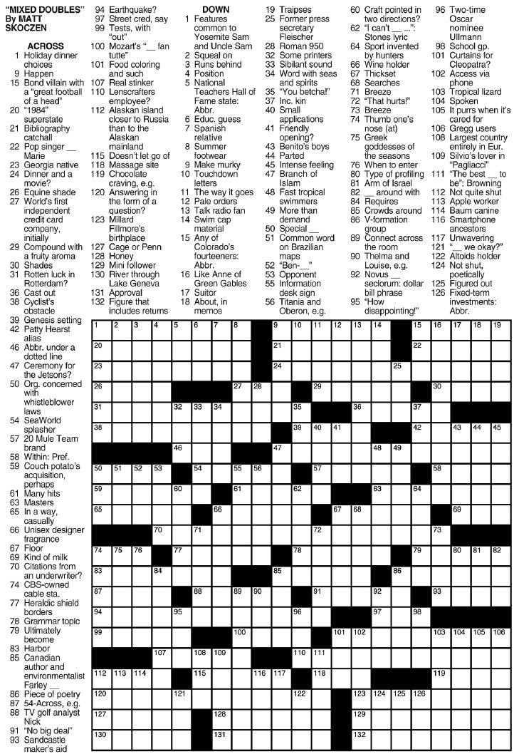 This is an image of Printable Sunday Crossword Puzzle with 4th grade