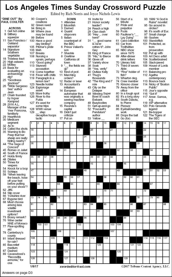 Gratifying image intended for printable sunday crossword puzzle