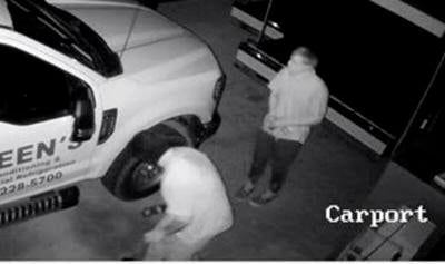 Suspects caught on video during theft activity