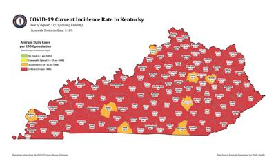 112 of Kentucky's 120 counties show red for COVID incidence