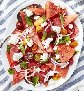 Watermelon, tomato, feta salad