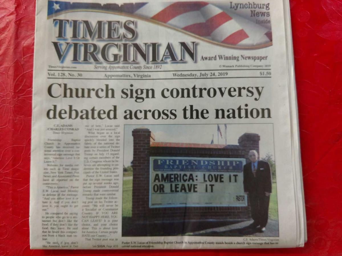 Friendship Baptist Church sign controversy article