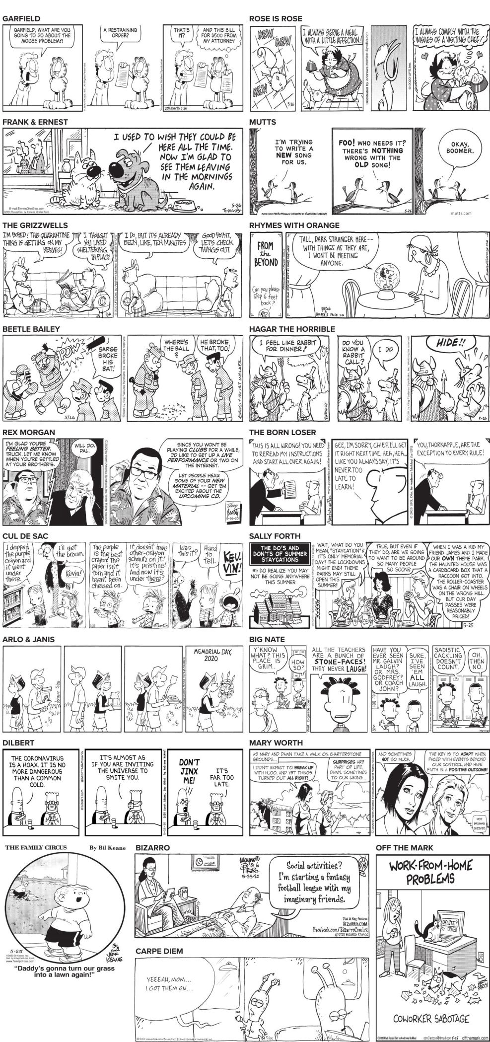 Tuesday May 26 2020 Comics And Puzzles Daily Comics Timeswv Com Join crista cowan for a look at the obituary times daily index and the u.s. tuesday may 26 2020 comics and