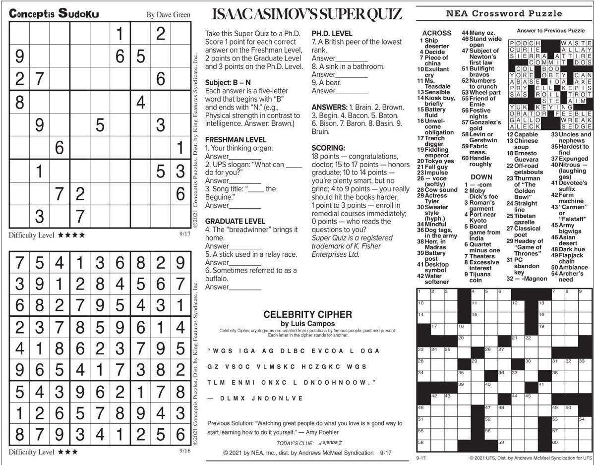 Sept. 17 puzzles