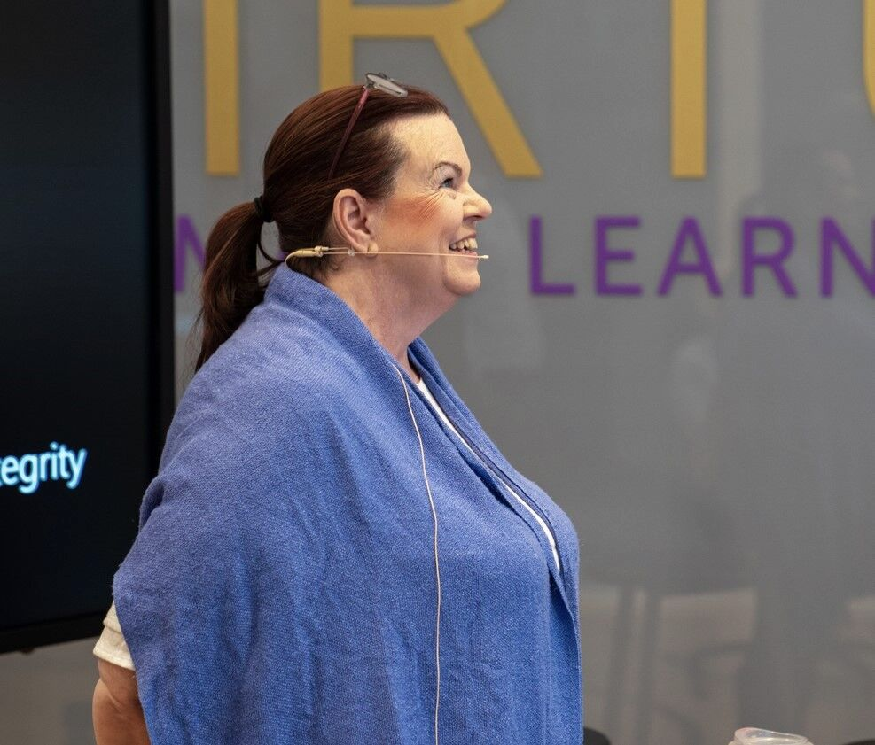 Crystal Mersh at a speaking engagement