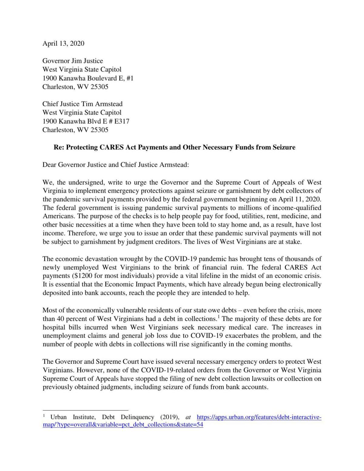 Request for Immediate Action to Protect CARES Act Payments.pdf