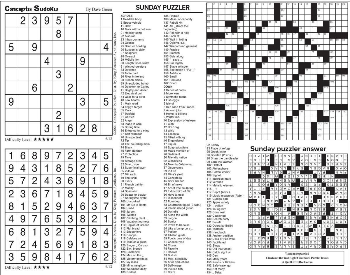 June 13 puzzles