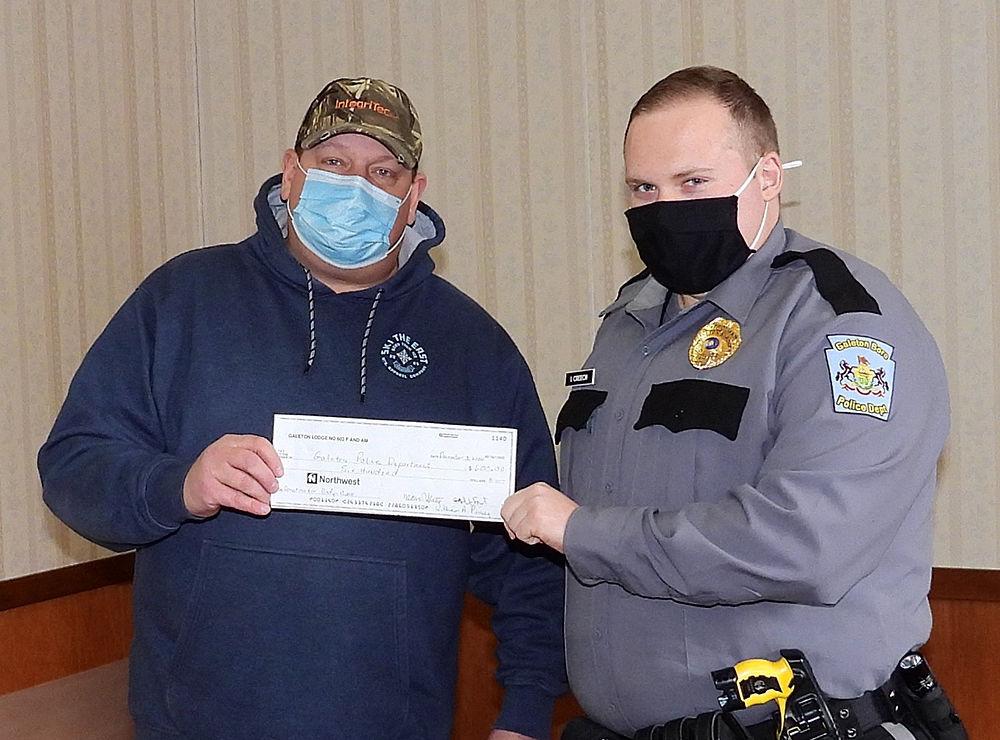 Masonic Lodge donates to Galeton Police Dept.