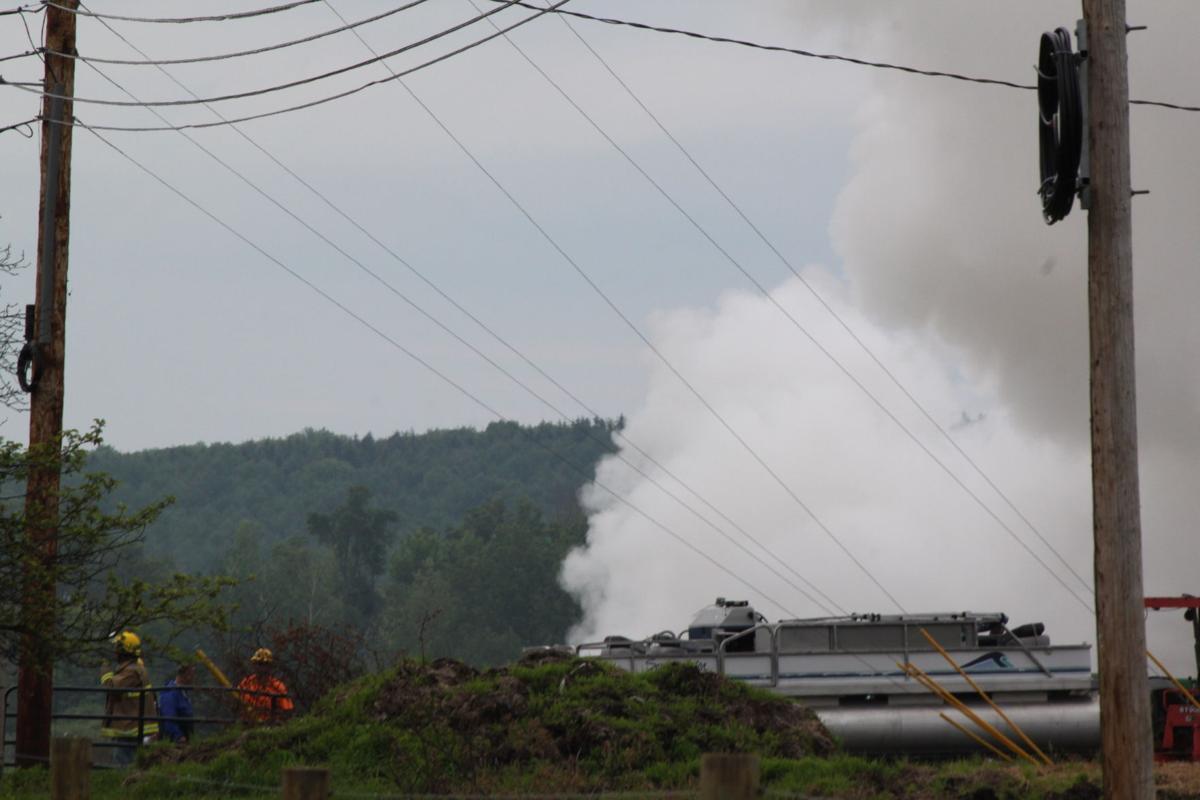 Smoky fire close