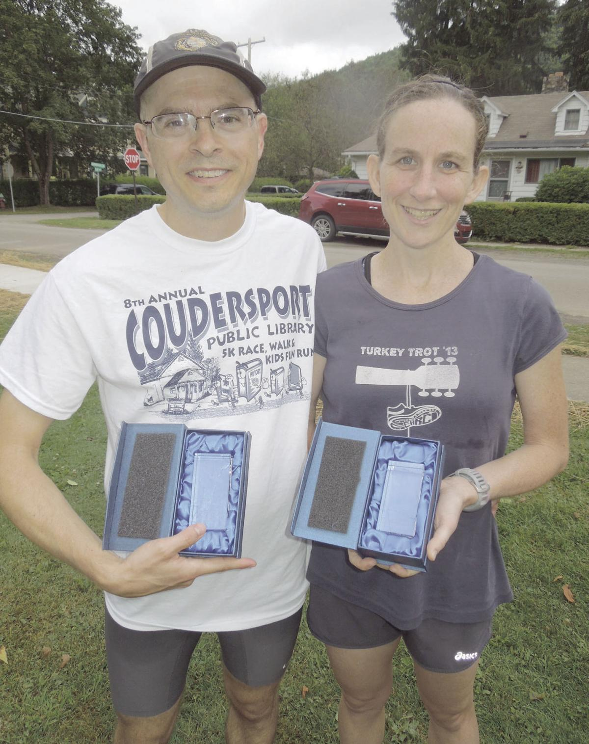Art And Katie Remillard Of Ebensburg Placed First Overall In The Mens Womens Categories This Years Coudersport Library 5K Was Mere Second Behind
