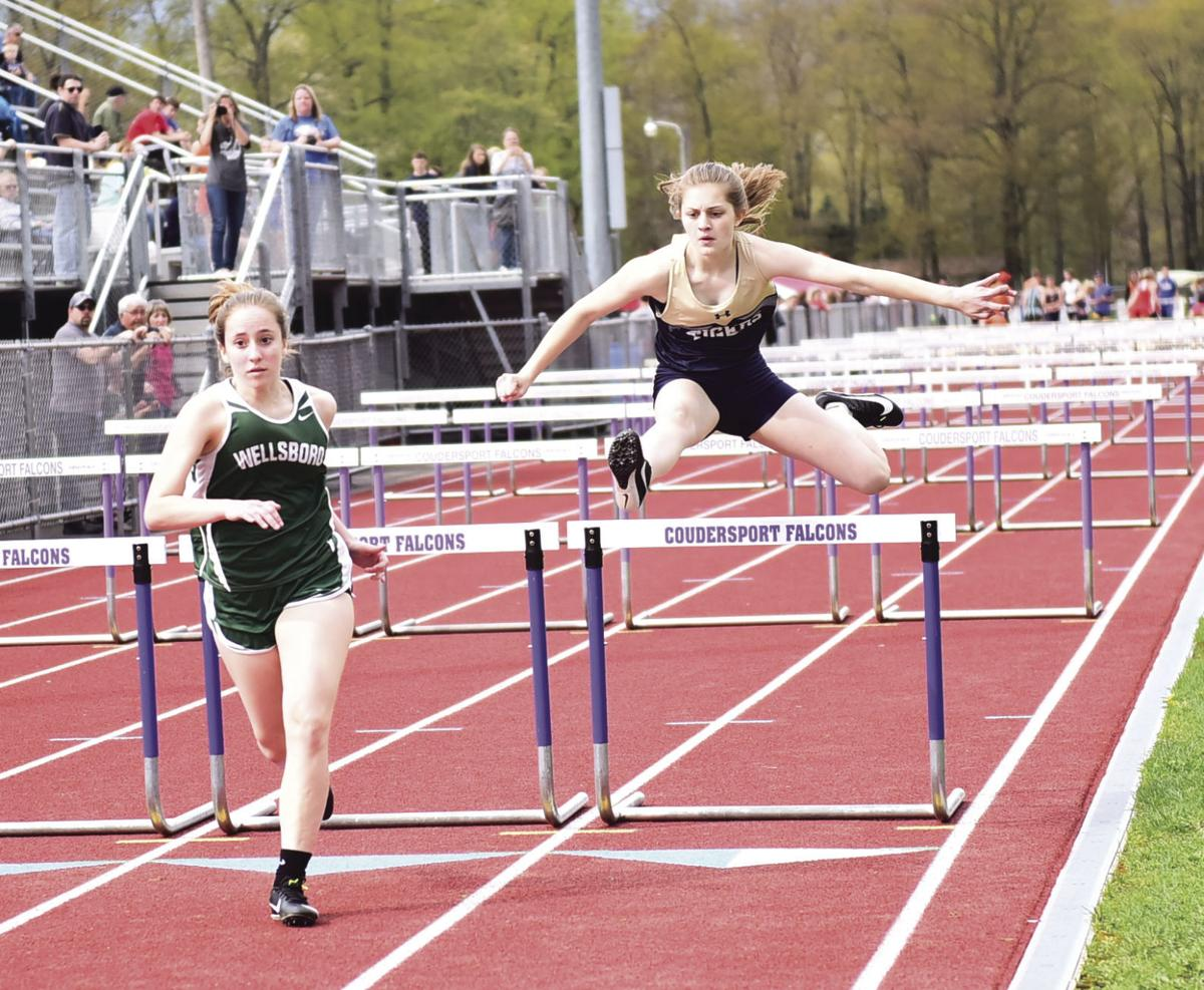 Wellsboro and North Penn-Mansfield compete in the 100 meter hurdles