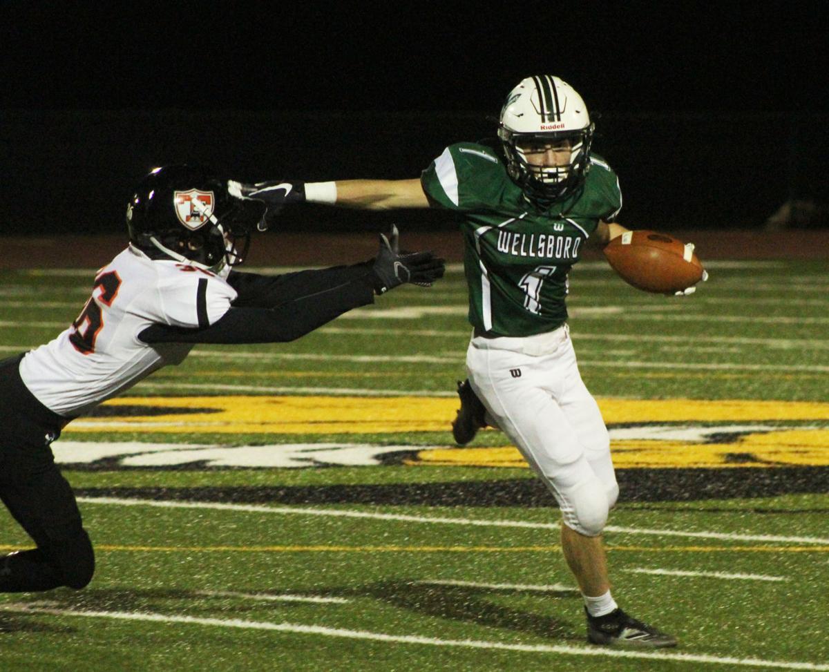 Conner Adams delivers stiff-arm