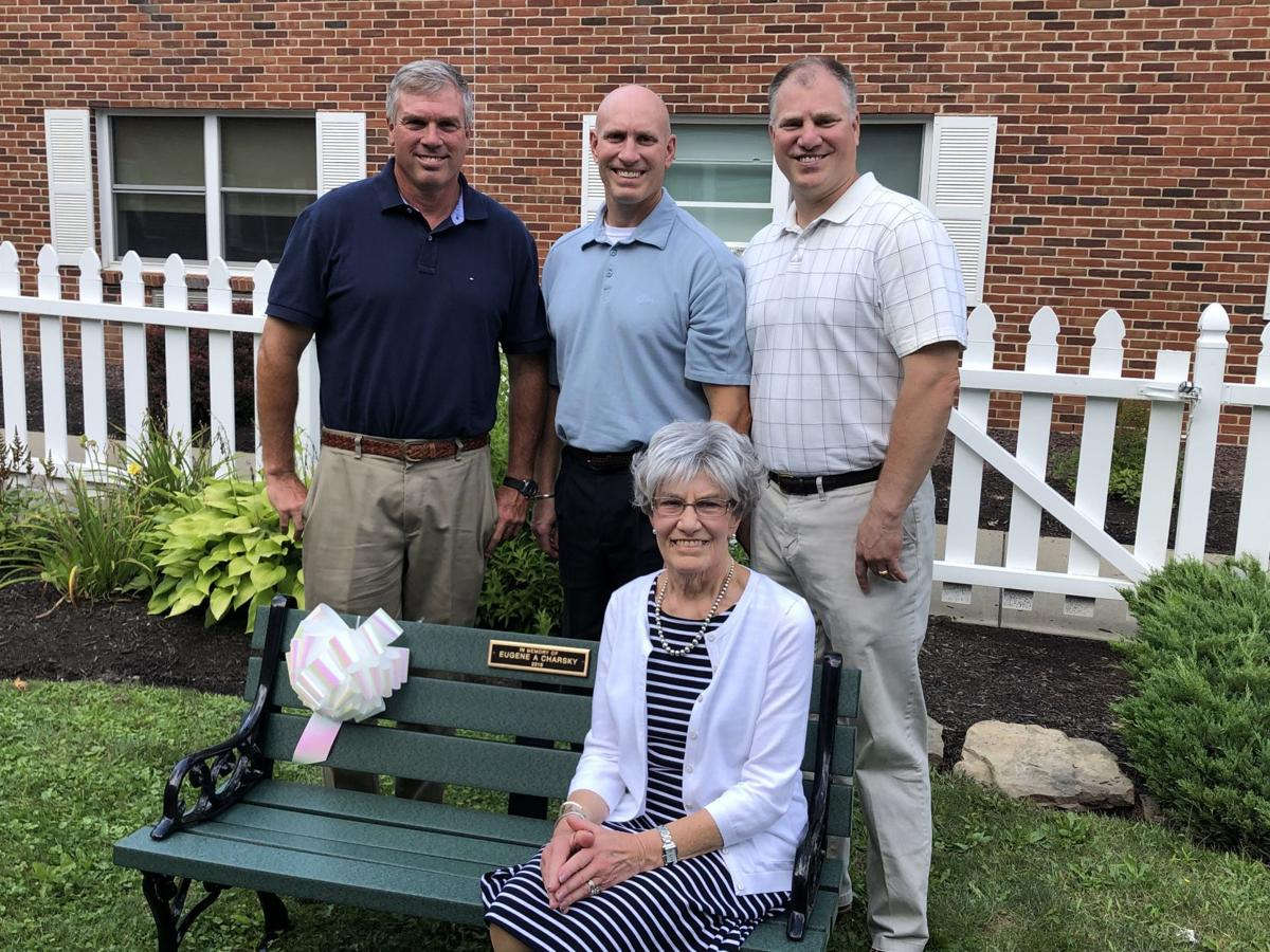 Bench dedication with widow and sons