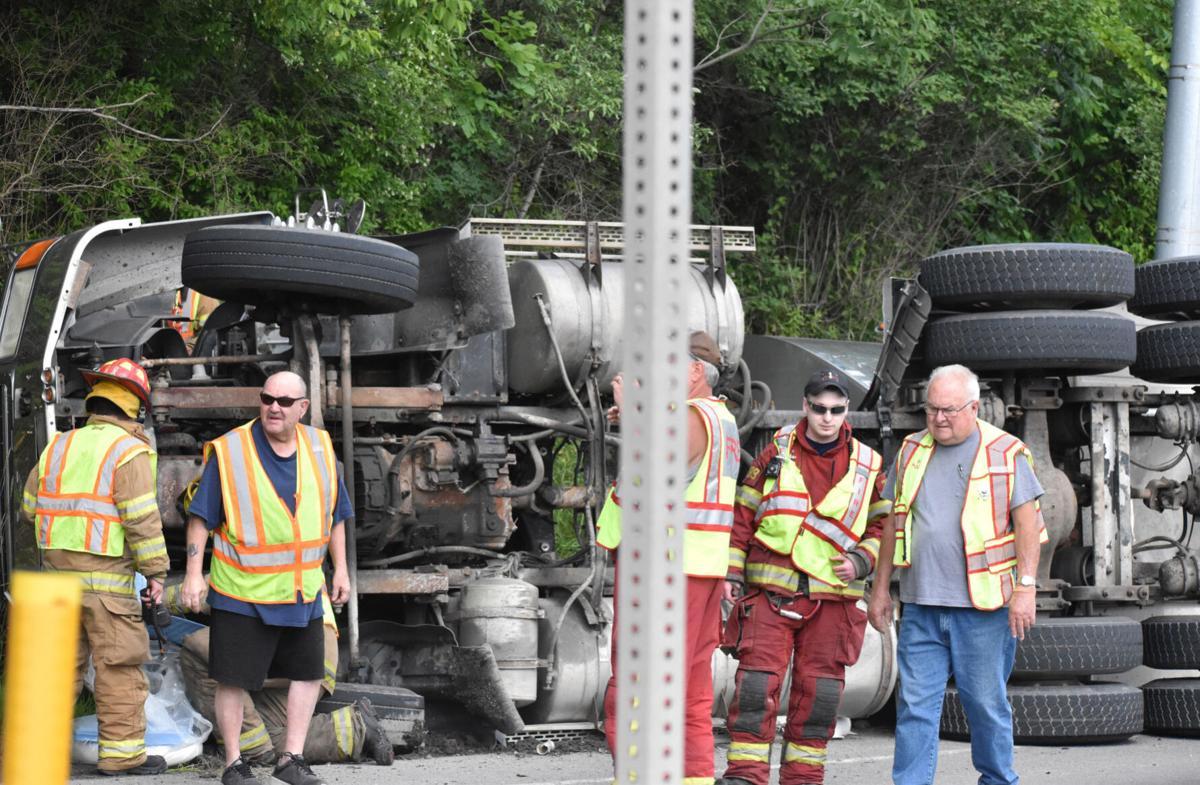 Truck rolls over at Wellsboro Junction