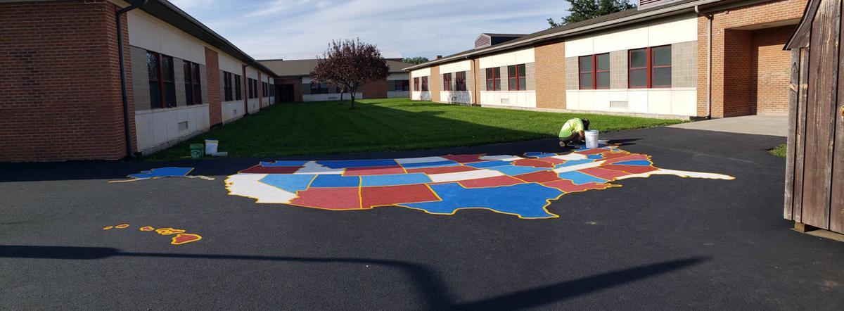 R.B. Walter has U.S. map on playground