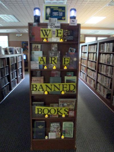 Banned books on display