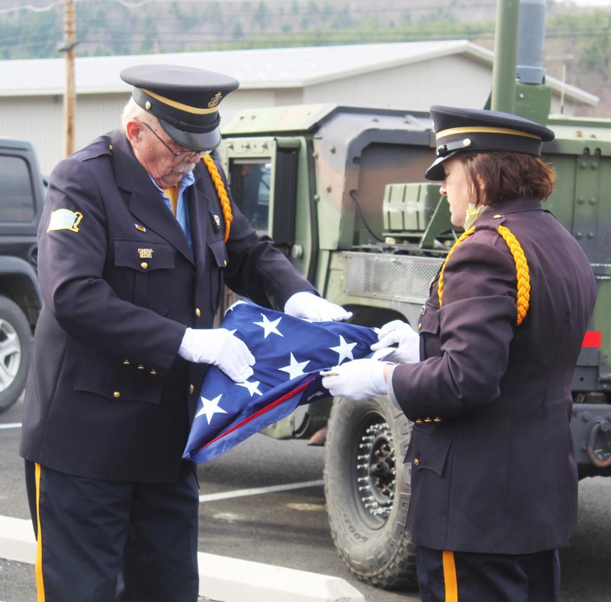Honor Guard folds flag