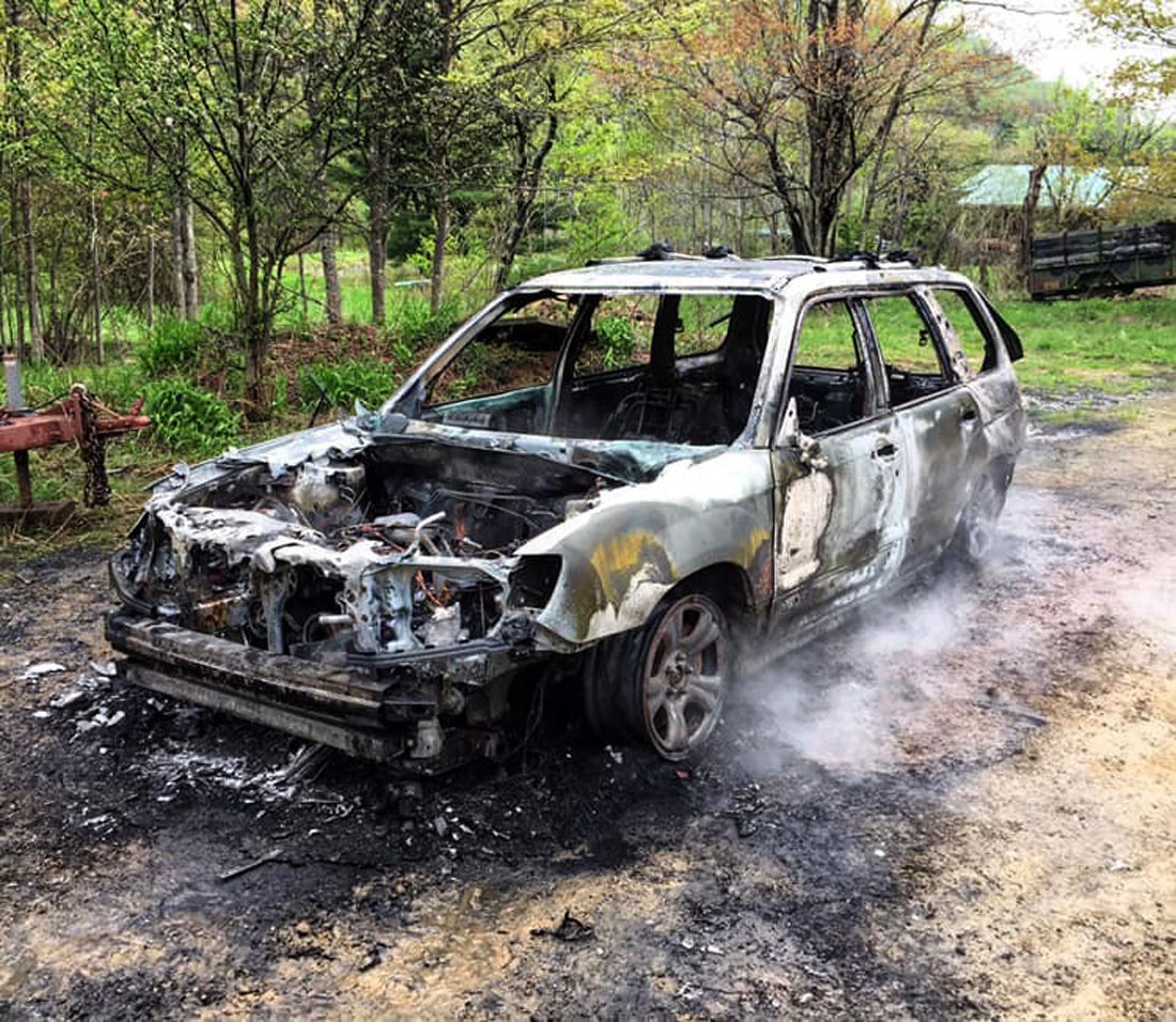 Vehicle fire in Keating Twp