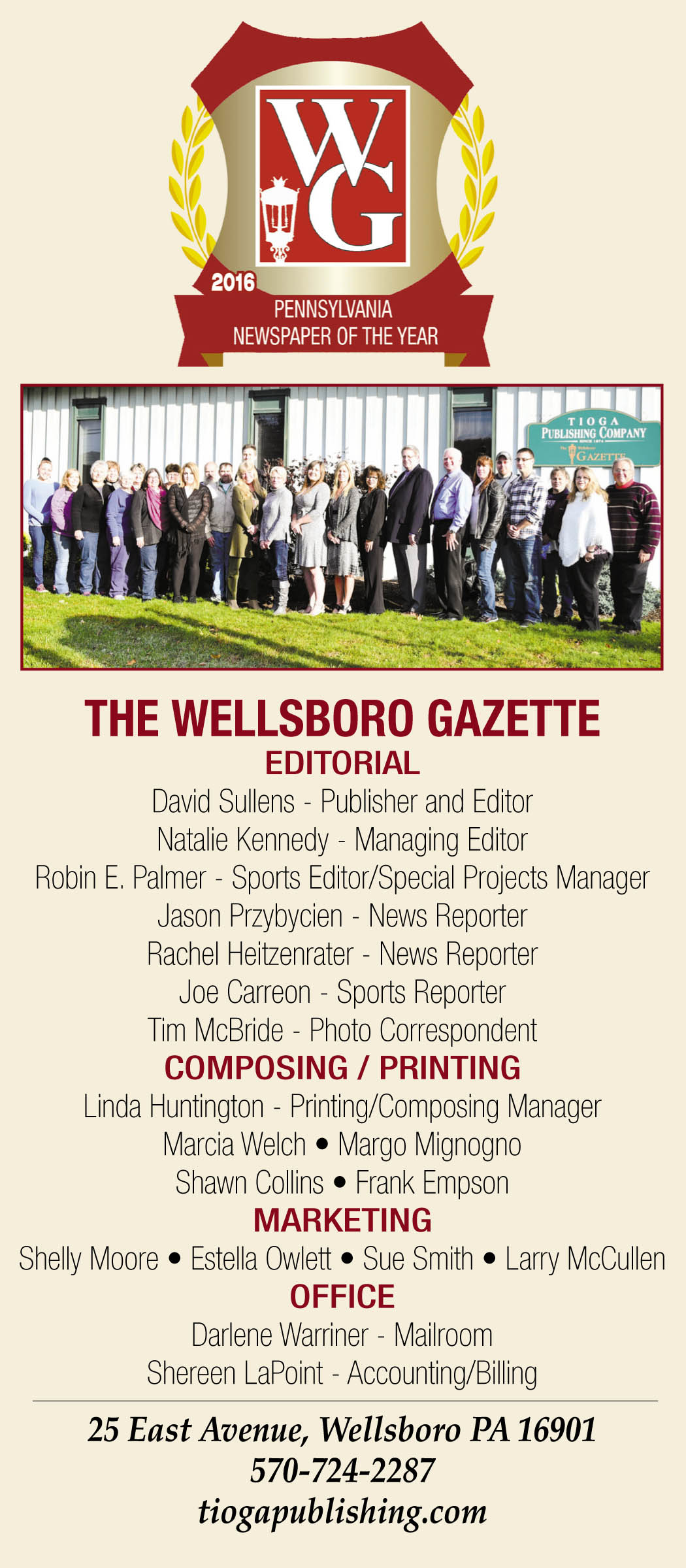 Newspaper of the Year masthead