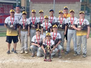 <p>The Titusville Dare Devils 12U travel baseball team took first place at the Cochranton Tournament on Sunday. Pictured in the front row is Elijah Brosius. In the second row, from left, are Gavin Kieth and Casey Rybak. In the third row is Dominic Fonzo. In the fourth row, from left, are coach Andrew Brosius, Ian McDonald, Rylend Geib, Hank Lockhart, Gavin Stephens, Wyatt Obert, Brett Schmidt and Coleman Knapp. In the back row, from left, are coach Phil Knapp and coach Chad Lockhart. Not pictured are Jaxon Covell and JJ Miller.</p>