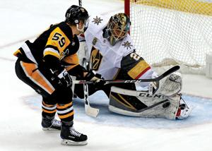 <p>Vegas Golden Knights goaltender Marc-Andre Fleury (29) is looking for his fourth Stanley Cup of his career.</p>