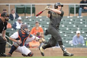 """<p class=""""p1""""><strong>Vanderbilt outfielder J.J. Bleday (right) went 6 for 16, including his first home run of the season, with three runs and three RBI at the MLB4 Collegiate Basebal Tournament over the weekend.</strong></p>"""