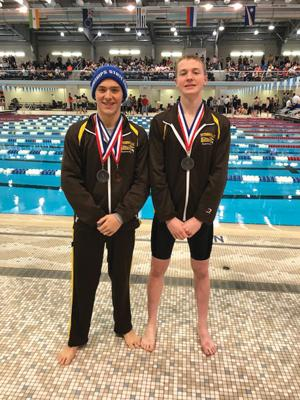 """<p class=""""p1""""><strong>Titusville's Shane Steffy (left) and Zach Titus pose with their second-place medals after qualifying for the PIAA Championship meet, Saturday.</strong></p>"""