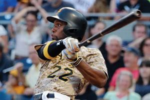 <p>FILE - In this Aug. 3, 2017, file photo, Pittsburgh Pirates' Andrew McCutchen watches his RBI-single off Cincinnati Reds starting pitcher Sal Romano during the third inning of a baseball game in Pittsburgh. The Giants acquired McCutchen from the Pirates for right-hander Kyle Crick, minor league outfielder Bryan Reynolds and $500,000 in international signing bonus allocation. (AP Photo/Gene J. Puskar, File)</p>