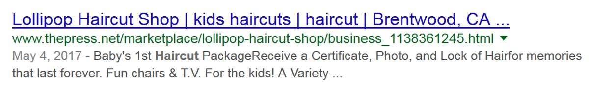 Lollipop Haircut Shop SEO listing