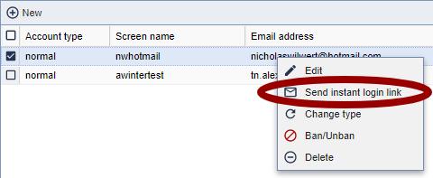 Send instant login link