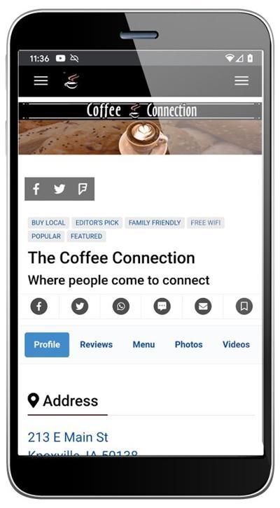 Coffee shop listing