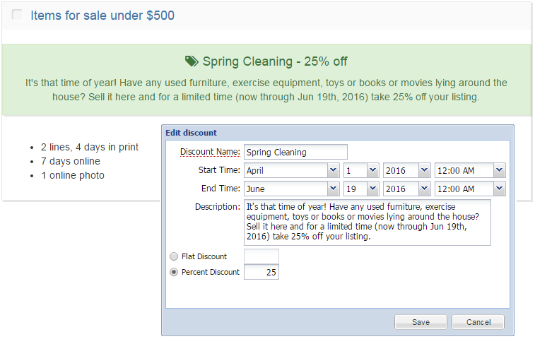 BLOX Ad-Owl discount: Spring cleaning example