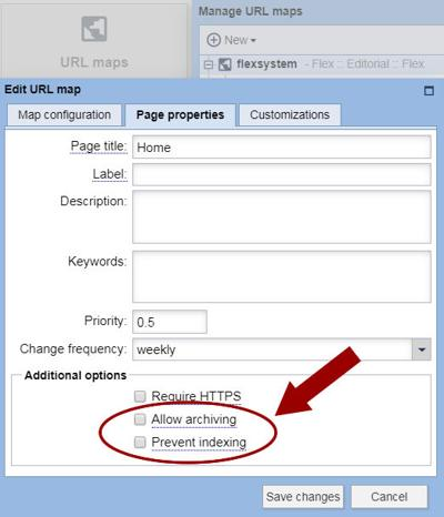 New robots.txt management in the URL panel