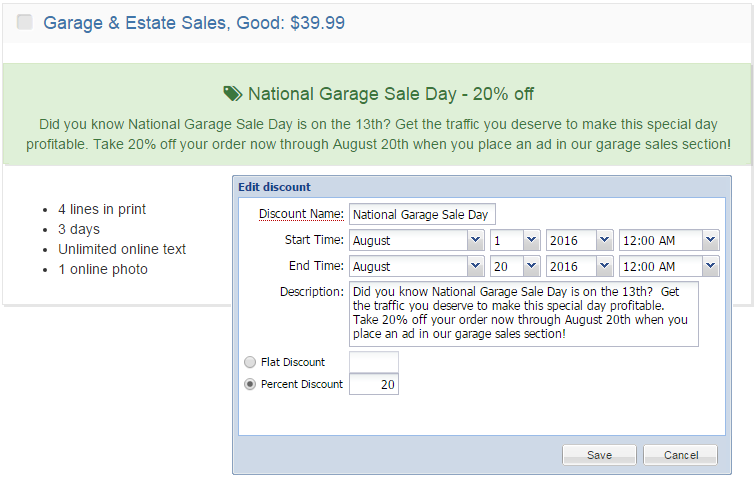 BLOX Ad-Owl discount: National Garage Sale Day example
