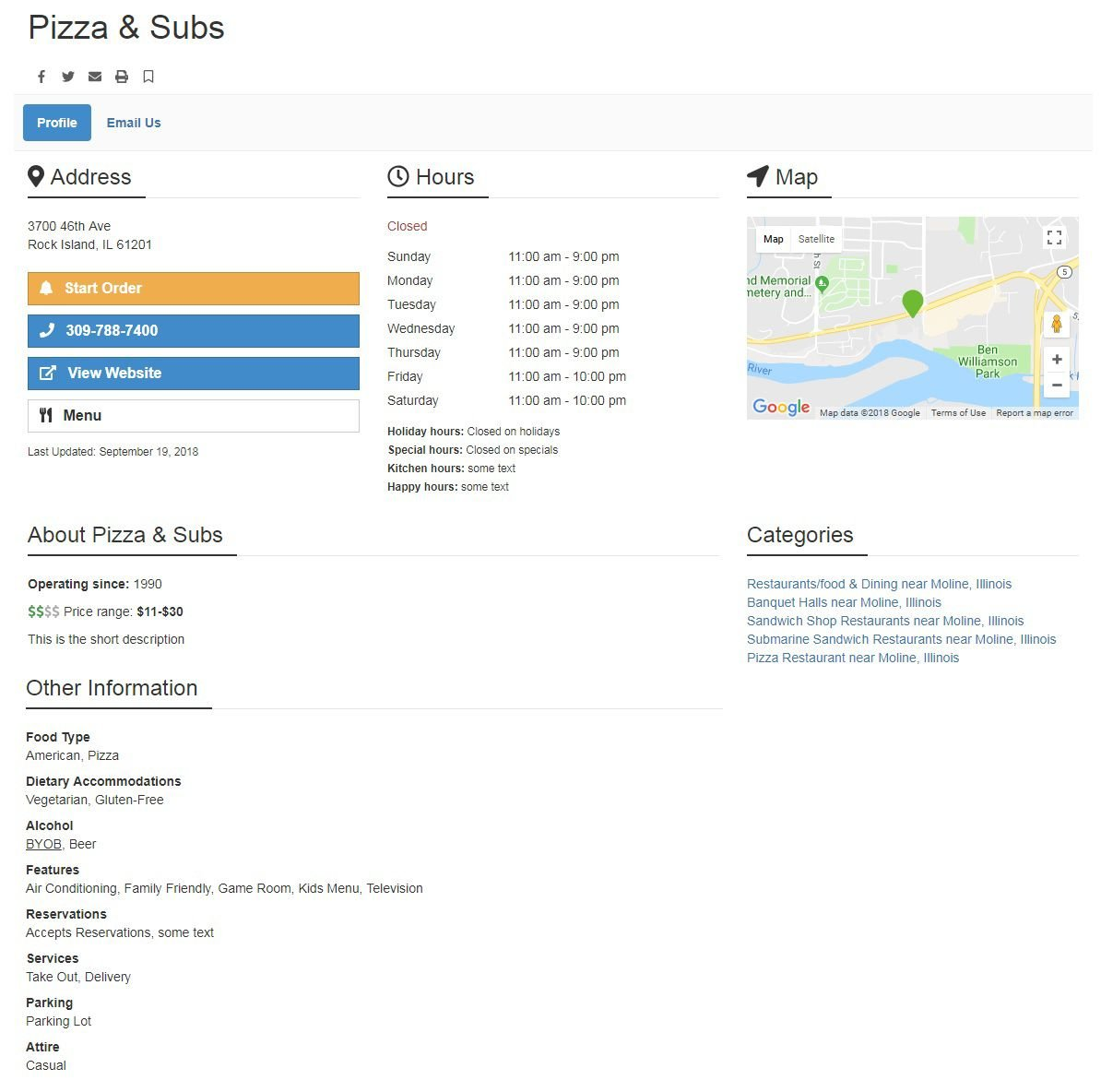 Restaurant Profile Page