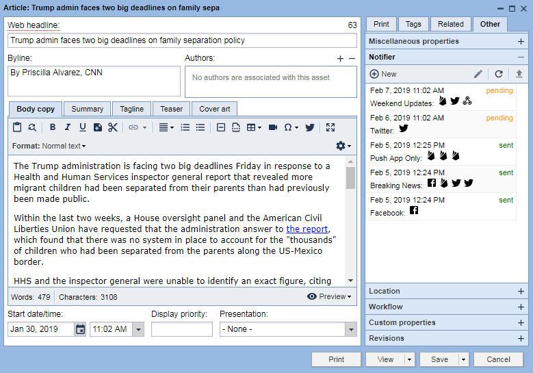 BLOX Notifier Editorial integration