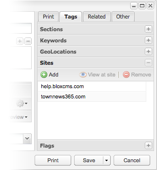 Tags / Sites pane